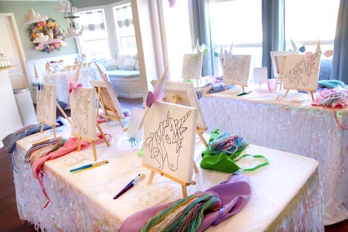Art table from a Magical Unicorn Art Birthday Party on Kara's Party Ideas | KarasPartyIdeas.com (18)