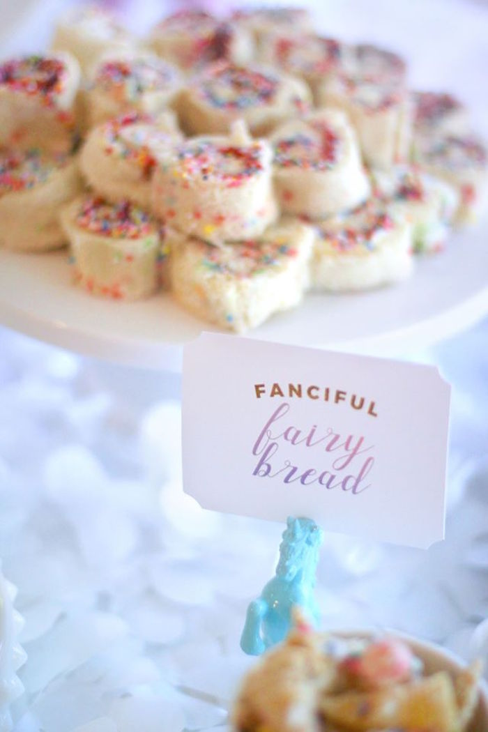 Fanciful fairy bread from a Magical Unicorn Art Birthday Party on Kara's Party Ideas | KarasPartyIdeas.com (17)