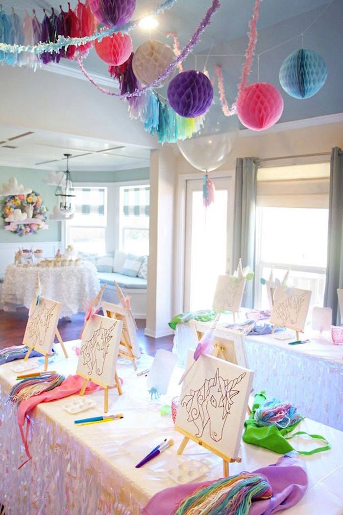 Art tables from a Magical Unicorn Art Birthday Party on Kara's Party Ideas | KarasPartyIdeas.com (16)