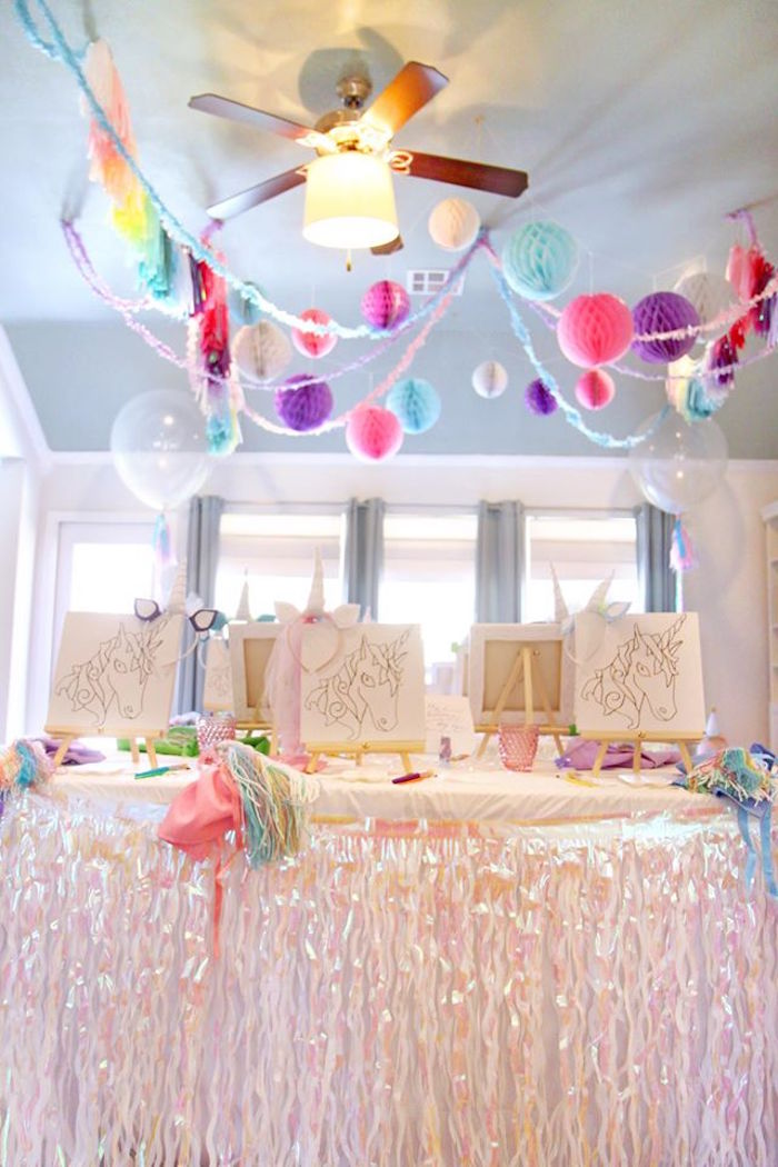 Iridescent party table from a Magical Unicorn Art Birthday Party on Kara's Party Ideas | KarasPartyIdeas.com (14)