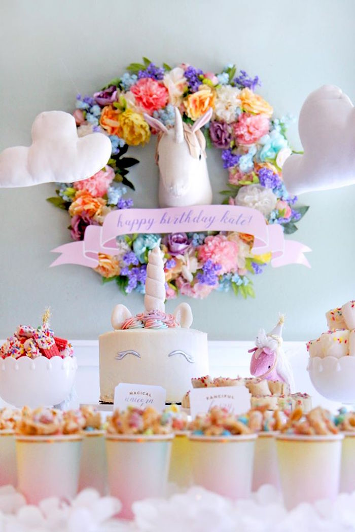 Flower wreath from a Magical Unicorn Art Birthday Party on Kara's Party Ideas | KarasPartyIdeas.com (12)