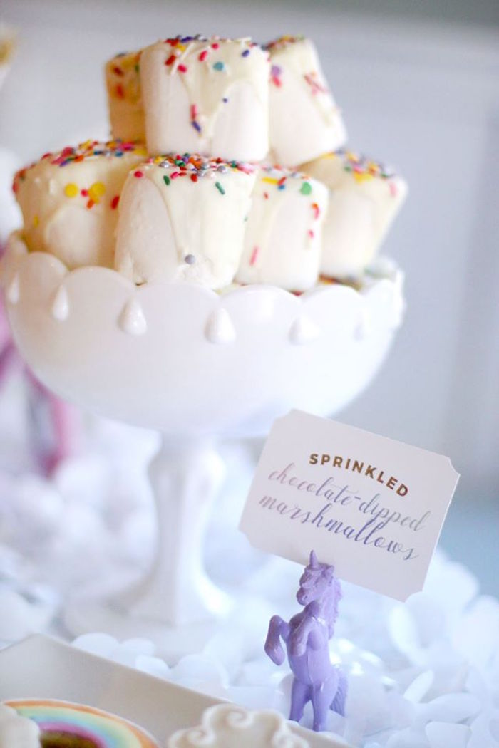 Sprinkled chocolate dipped marshmallows from a Magical Unicorn Art Birthday Party on Kara's Party Ideas | KarasPartyIdeas.com (11)