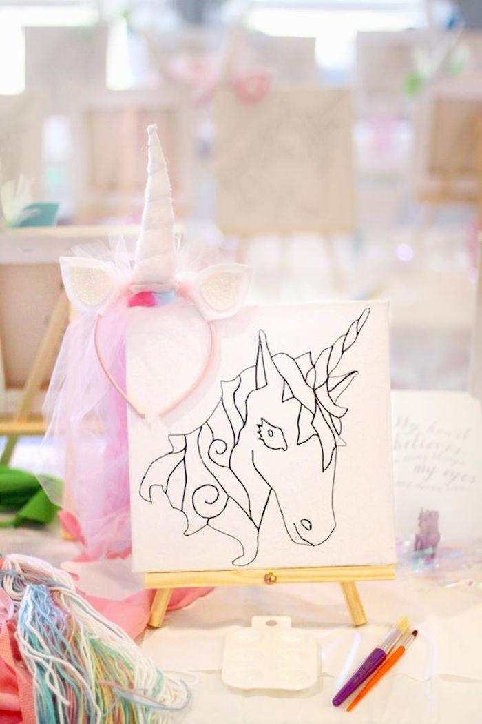 Unicorn art easel from a Magical Unicorn Art Birthday Party on Kara's Party Ideas | KarasPartyIdeas.com (8)