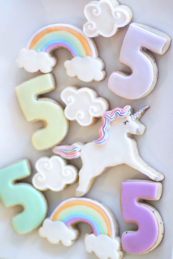 Sugar cookies from a Magical Unicorn Art Birthday Party on Kara's Party Ideas | KarasPartyIdeas.com (6)