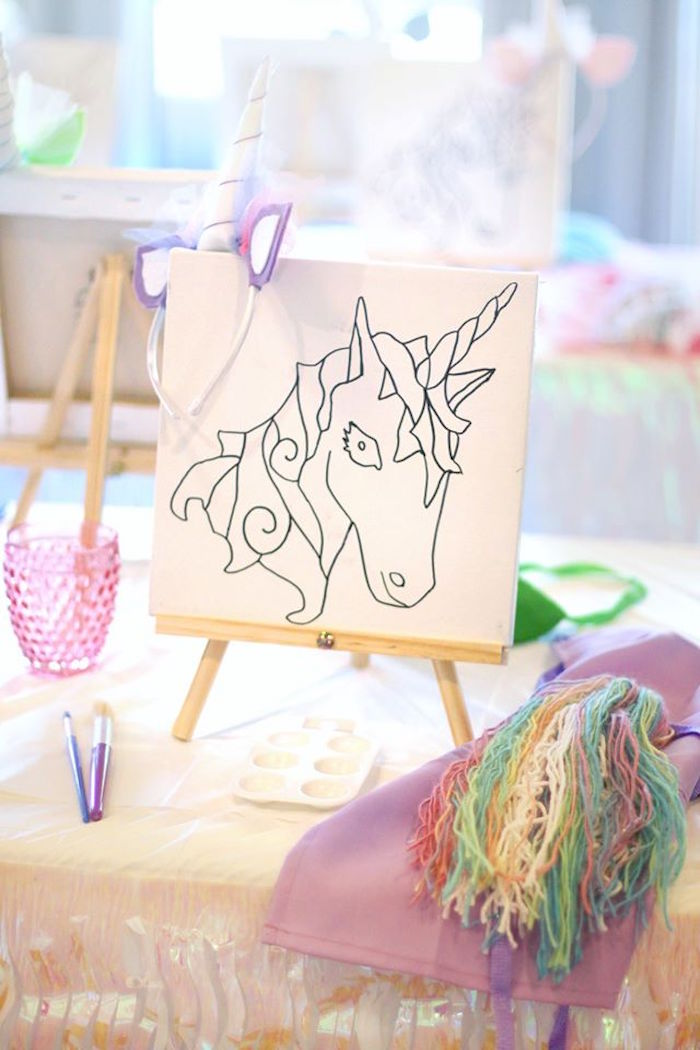 Unicorn art place setting from a Magical Unicorn Art Birthday Party on Kara's Party Ideas | KarasPartyIdeas.com (39)