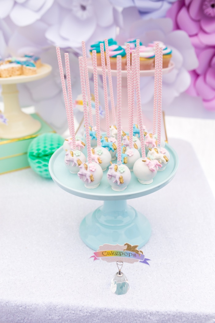 Unicorn cake pops from a Magical Unicorn Birthday Party on Kara's Party Ideas | KarasPartyIdeas.com (26)
