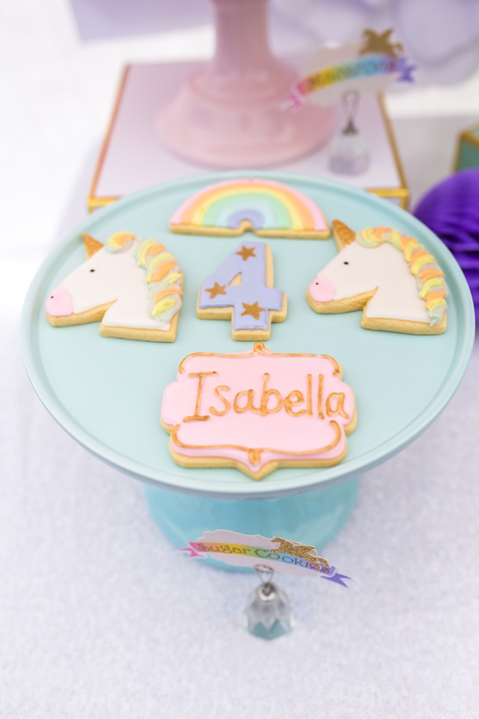 Unicorn cookies from a Magical Unicorn Birthday Party on Kara's Party Ideas | KarasPartyIdeas.com (22)