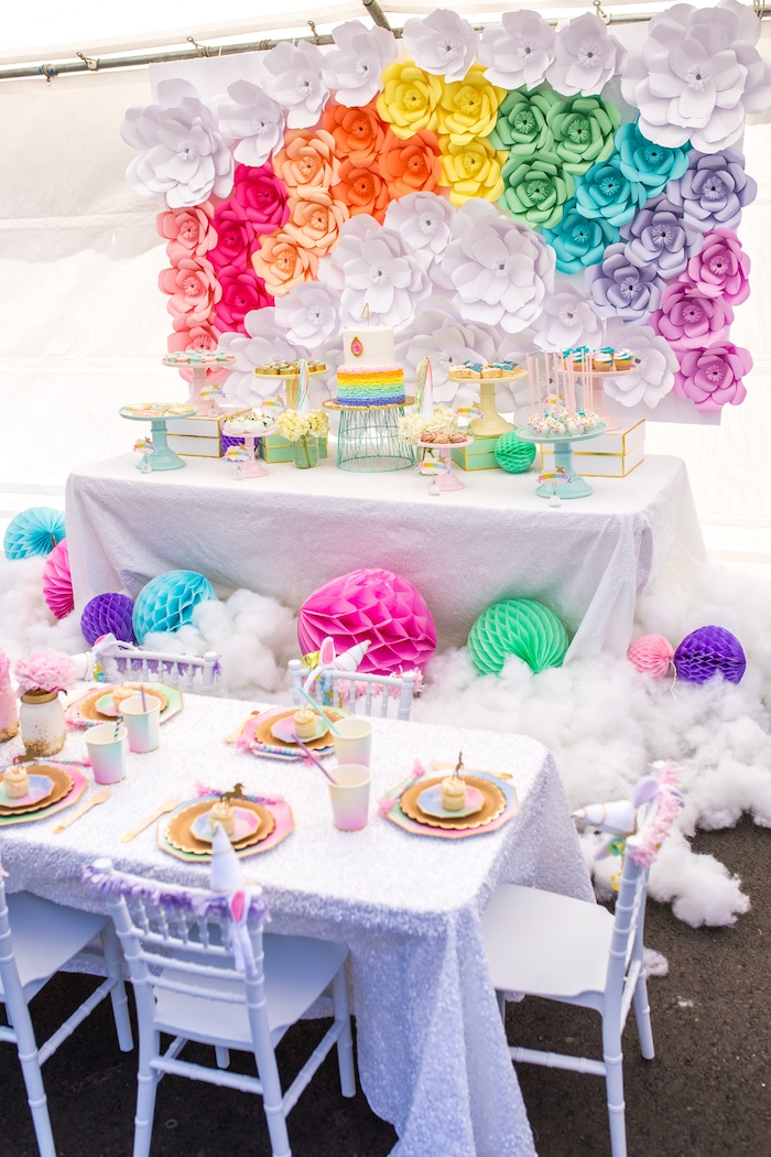 Party tables + cloud decor from a Magical Unicorn Birthday Party on Kara's Party Ideas | KarasPartyIdeas.com (16)
