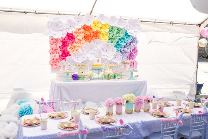 Party tables from a Magical Unicorn Birthday Party on Kara's Party Ideas | KarasPartyIdeas.com (10)