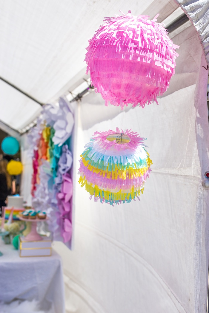 Fringe ball decorations from a Magical Unicorn Birthday Party on Kara's Party Ideas | KarasPartyIdeas.com (5)