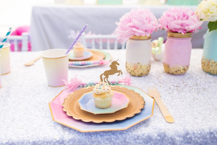 Ombre place setting from a Magical Unicorn Birthday Party on Kara's Party Ideas | KarasPartyIdeas.com (35)