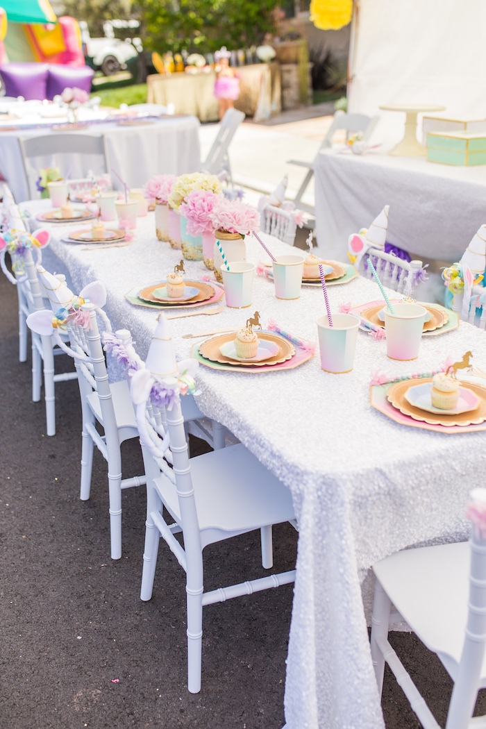 Guest table from a Magical Unicorn Birthday Party on Kara's Party Ideas | KarasPartyIdeas.com (33)