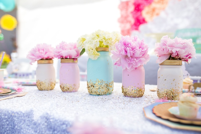 Glitter Mason Jar Blooms From A Magical Unicorn Birthday Party On Karas Ideas