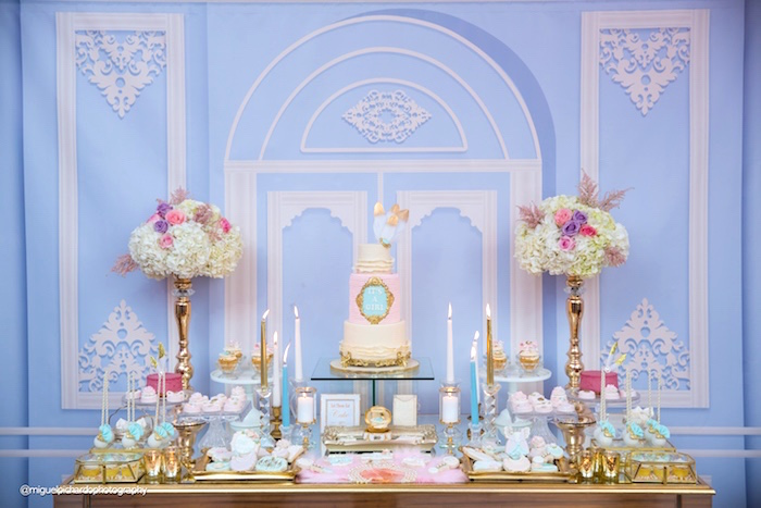 Dessert table from a Marie Antoinette Baby Shower on Kara's Party Ideas | KarasPartyIdeas.com (32)
