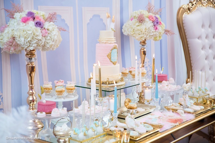 Dessert tablescape from a Marie Antoinette Baby Shower on Kara's Party Ideas | KarasPartyIdeas.com (29)
