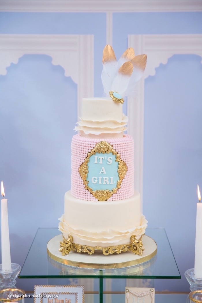 Cake from a Marie Antoinette Baby Shower on Kara's Party Ideas | KarasPartyIdeas.com (28)
