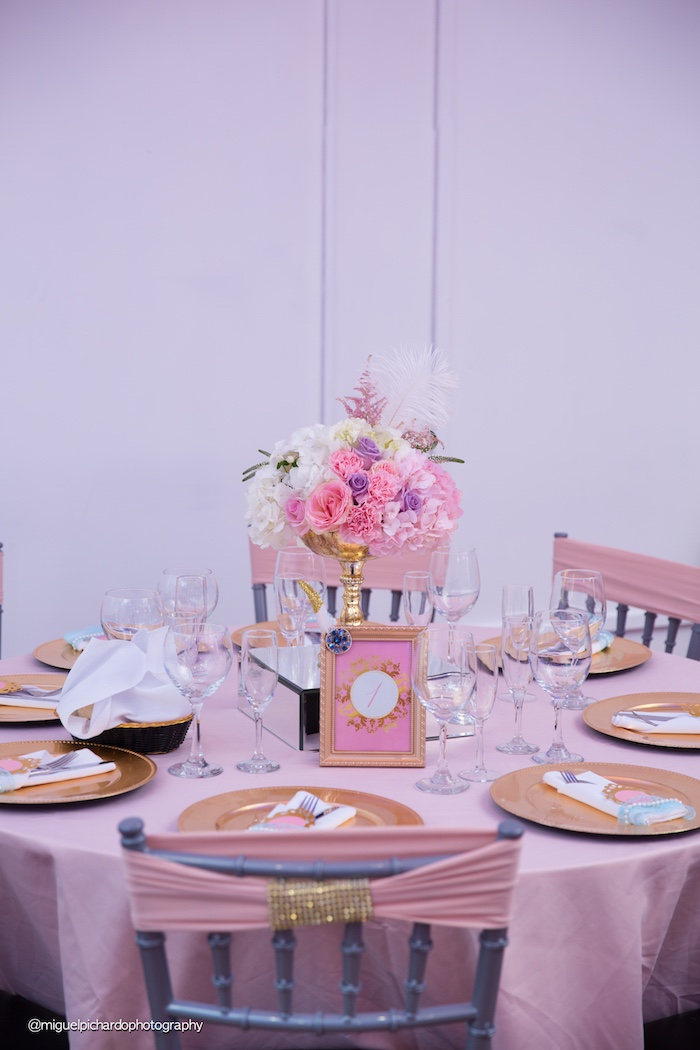 Guest tablescape from a Marie Antoinette Baby Shower on Kara's Party Ideas | KarasPartyIdeas.com (45)