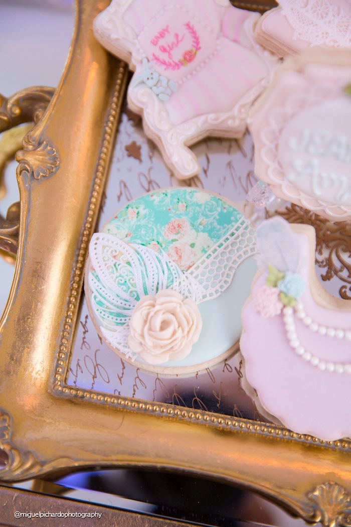 Cookie from a Marie Antoinette Baby Shower on Kara's Party Ideas | KarasPartyIdeas.com (26)