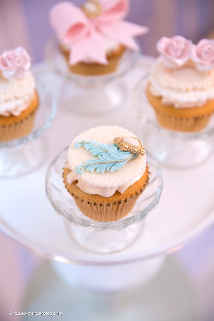 Cupcake from a Marie Antoinette Baby Shower on Kara's Party Ideas | KarasPartyIdeas.com (20)