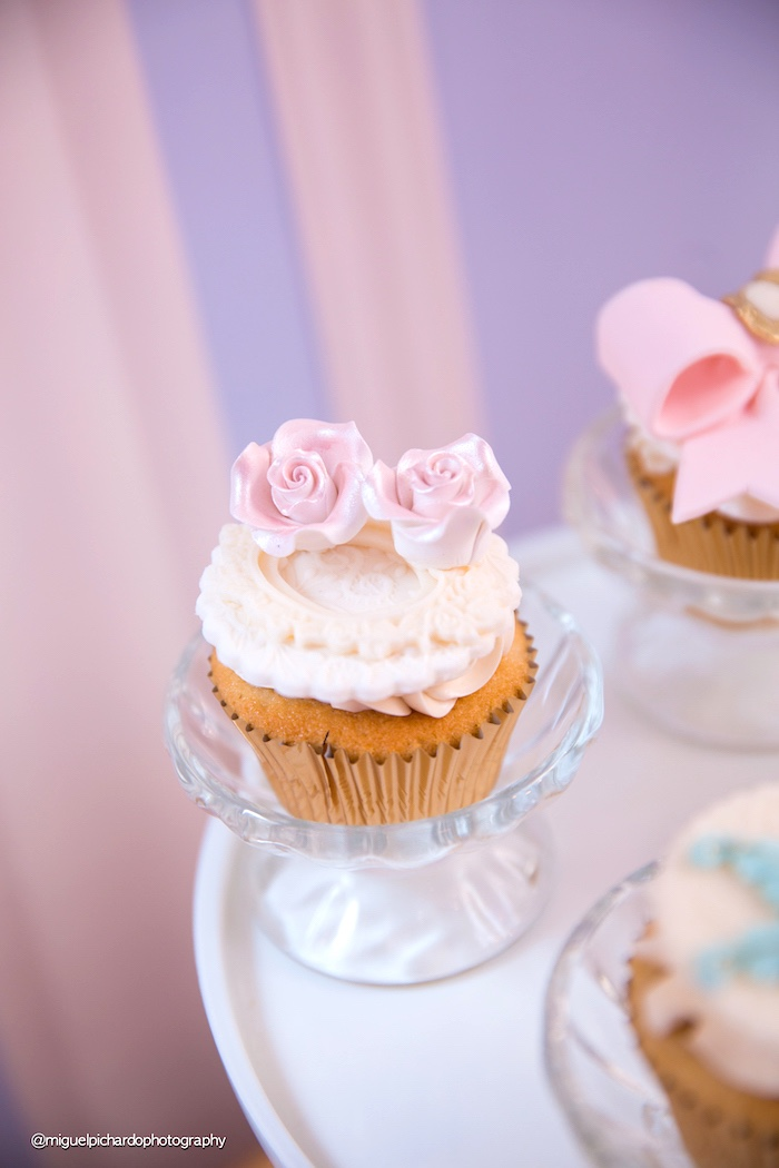 Rose cupcake from a Marie Antoinette Baby Shower on Kara's Party Ideas | KarasPartyIdeas.com (19)