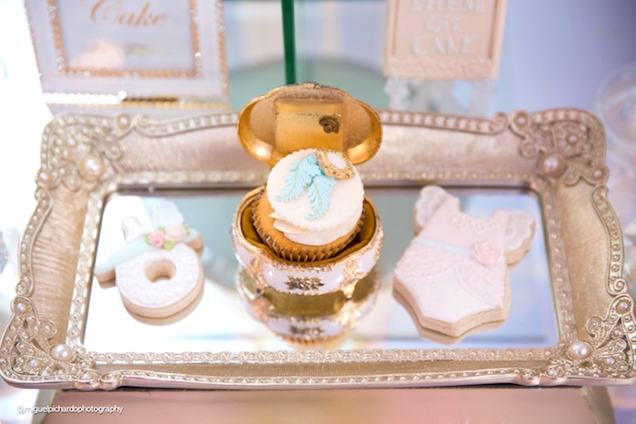 Cupcakes and cookies from a Marie Antoinette Baby Shower on Kara's Party Ideas | KarasPartyIdeas.com (17)