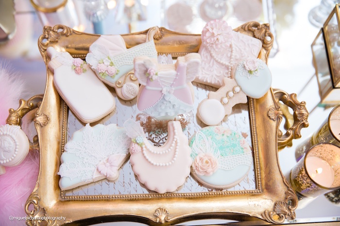 Cookies from a Marie Antoinette Baby Shower on Kara's Party Ideas | KarasPartyIdeas.com (16)