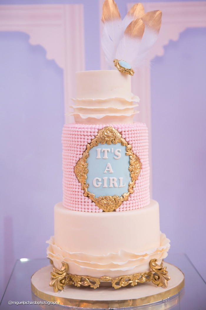 Cake from a Marie Antoinette Baby Shower on Kara's Party Ideas | KarasPartyIdeas.com (13)