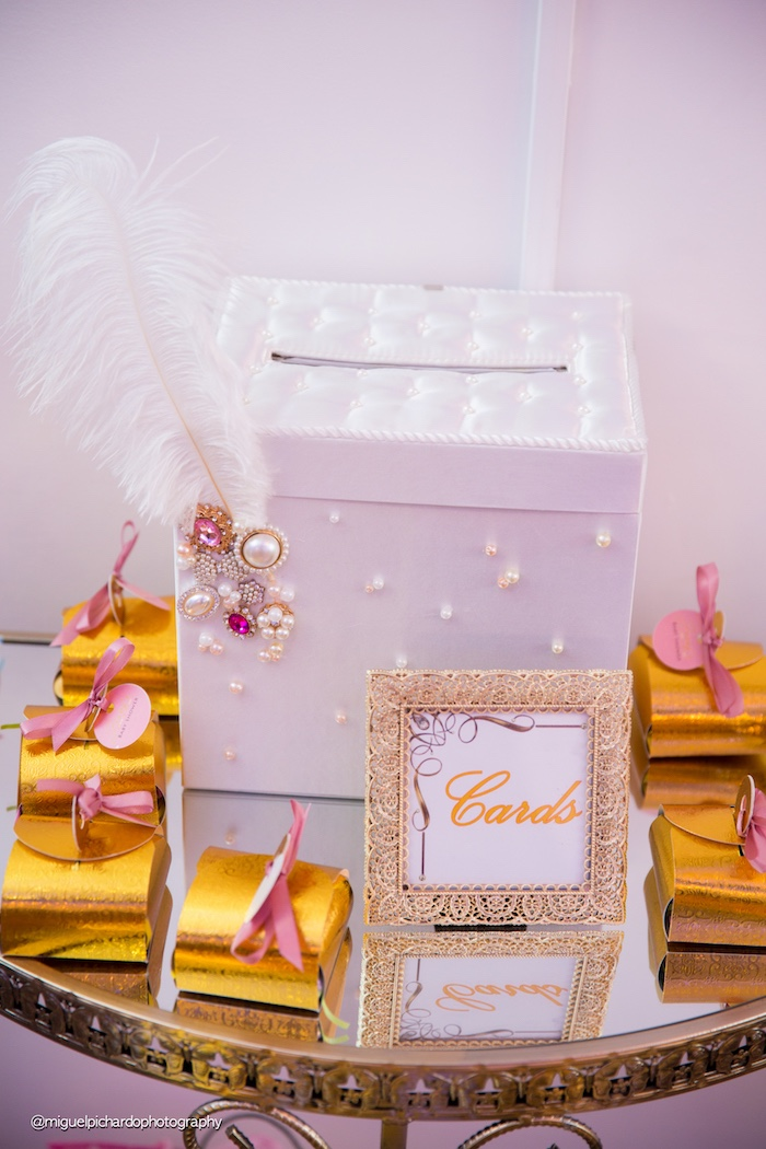 Card box from a Marie Antoinette Baby Shower on Kara's Party Ideas | KarasPartyIdeas.com (11)