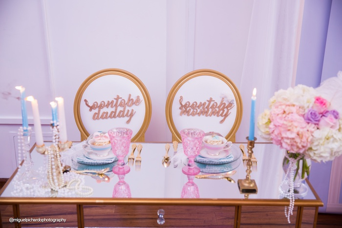 Parents-to-be table from a Marie Antoinette Baby Shower on Kara's Party Ideas | KarasPartyIdeas.com (8)