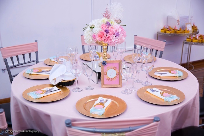 Guest table from a Marie Antoinette Baby Shower on Kara's Party Ideas | KarasPartyIdeas.com (7)