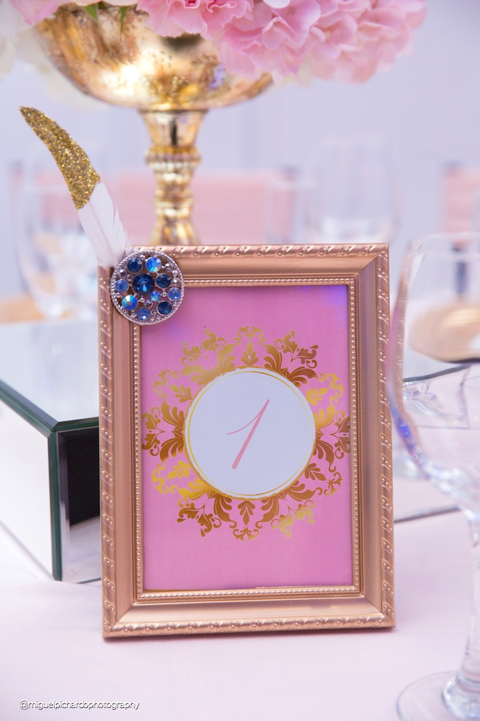 Table number from a Marie Antoinette Baby Shower on Kara's Party Ideas | KarasPartyIdeas.com (43)