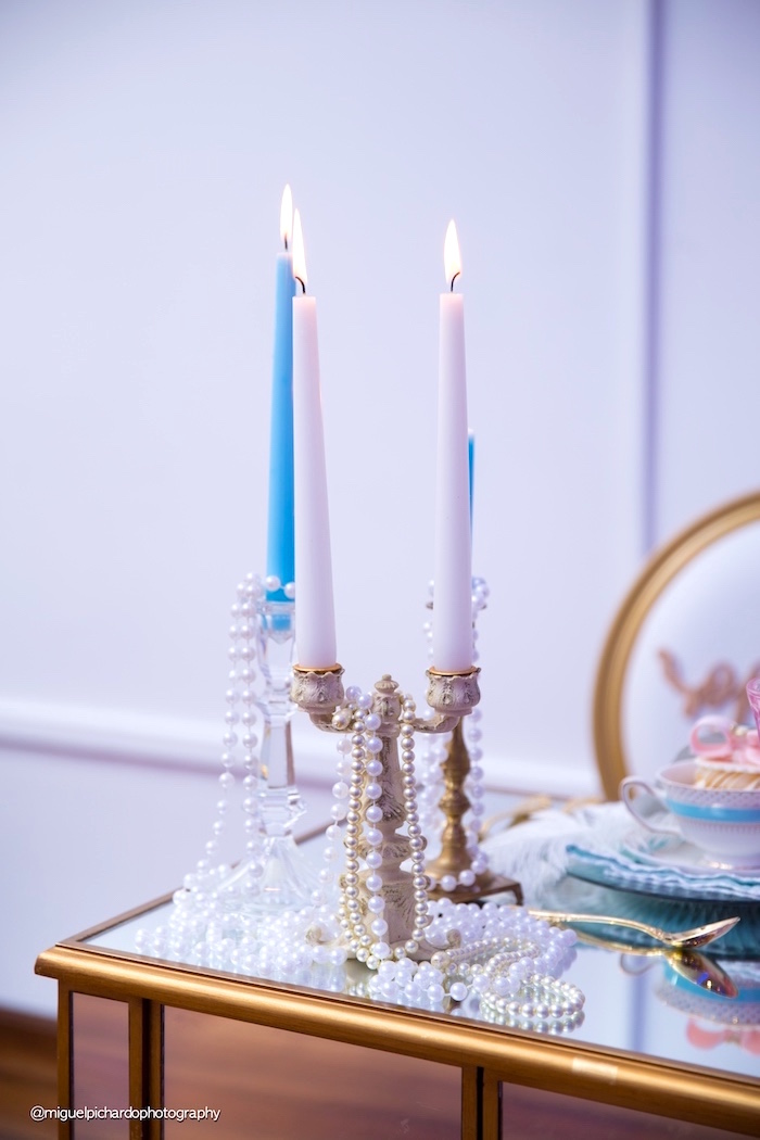 Candleabra strung with jewelry from a Marie Antoinette Baby Shower on Kara's Party Ideas | KarasPartyIdeas.com (40)