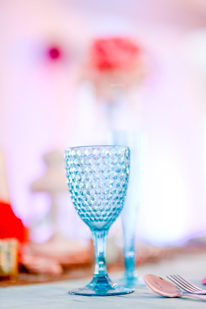 Bubble glass goblet from a Message in a Bottle Sea Inspired Wedding on Kara's Party Ideas | KarasPartyIdeas.com (21)