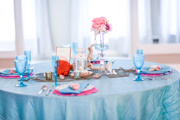 Guest table from a Message in a Bottle Sea Inspired Wedding on Kara's Party Ideas | KarasPartyIdeas.com (18)
