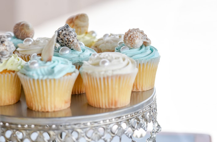 Ocean cupcakes from a Message in a Bottle Sea Inspired Wedding on Kara's Party Ideas | KarasPartyIdeas.com (12)