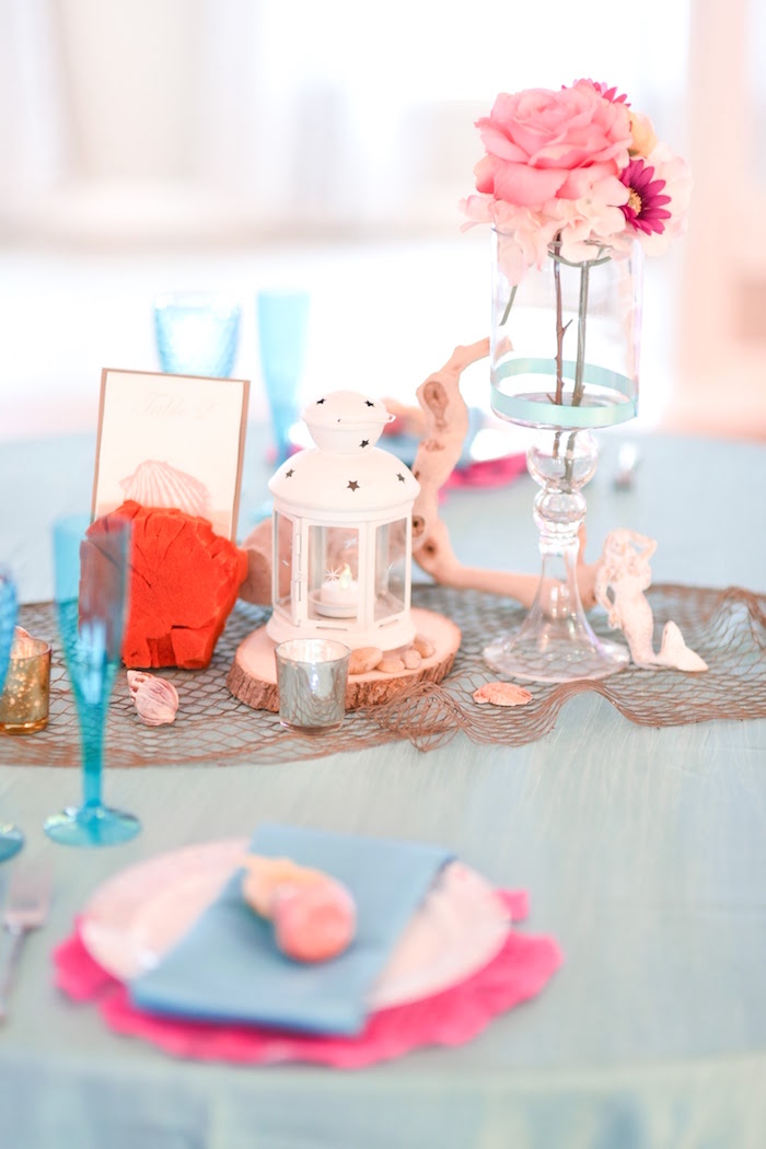 Guest table decor from a Message in a Bottle Sea Inspired Wedding on Kara's Party Ideas | KarasPartyIdeas.com (28)