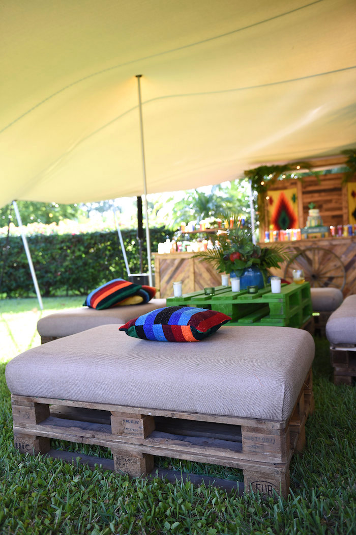 Pallet lounge chair from a Mexican Birthday Fiesta on Kara's Party Ideas | KarasPartyIdeas.com (19)