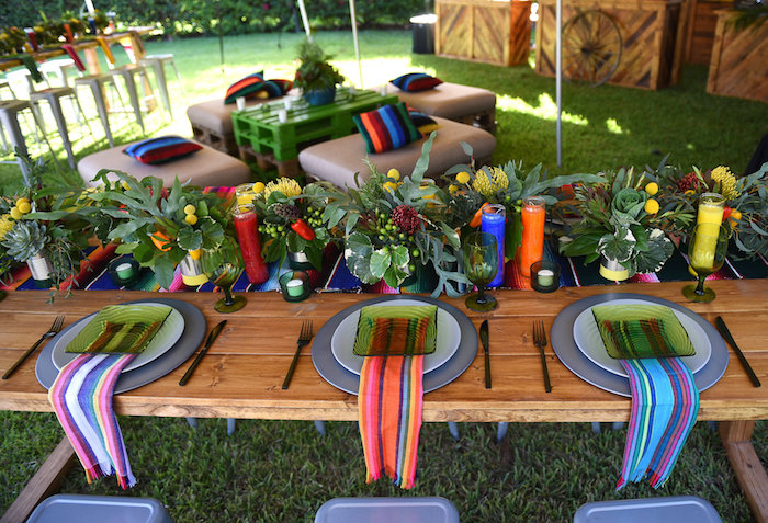Guest tablescape from a Mexican Birthday Fiesta on Kara's Party Ideas | KarasPartyIdeas.com (17)