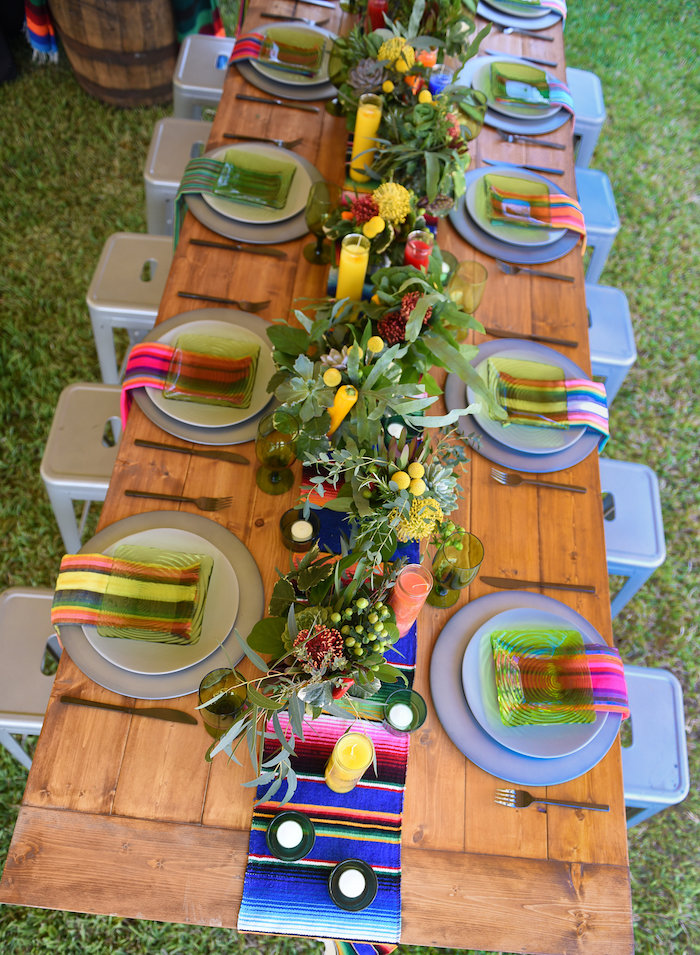 Guest tabletop from a Mexican Birthday Fiesta on Kara's Party Ideas | KarasPartyIdeas.com (11)