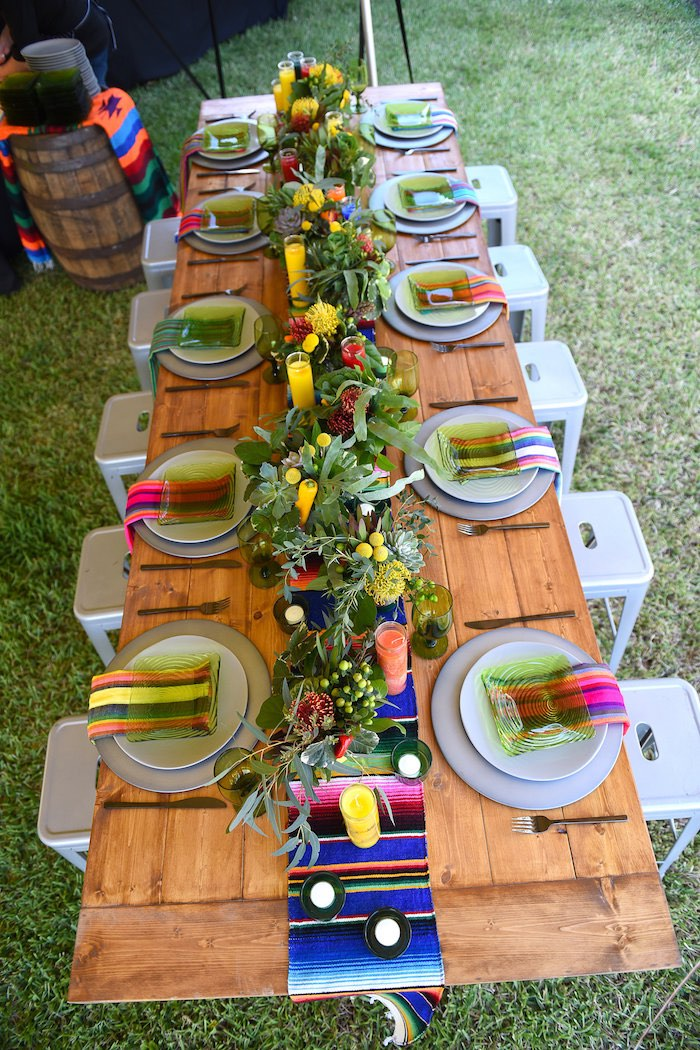 Guest table from a Mexican Birthday Fiesta on Kara's Party Ideas | KarasPartyIdeas.com (10)