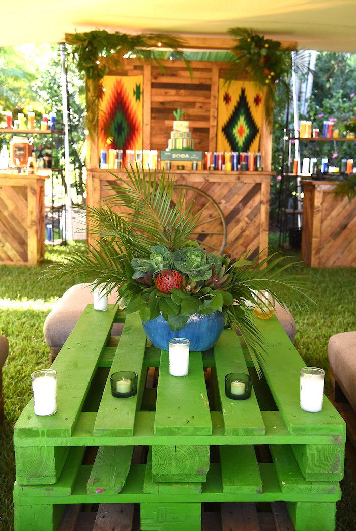 Green pallet table + centerpiece from a Mexican Birthday Fiesta on Kara's Party Ideas | KarasPartyIdeas.com (28)