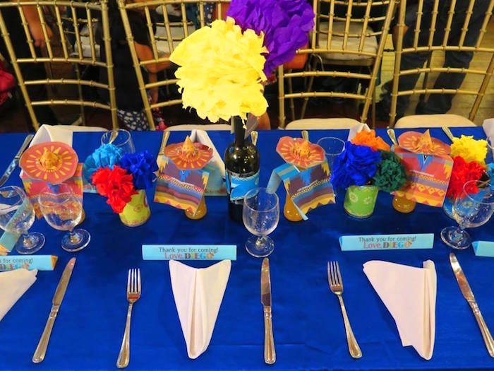 Guest tablescape from a Mexican Fiesta Birthday Party on Kara's Party Ideas | KarasPartyIdeas.com (23)