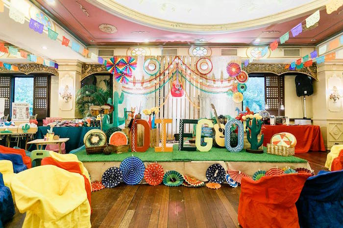 Fiesta stage from a Mexican Fiesta Birthday Party on Kara's Party Ideas | KarasPartyIdeas.com (14)