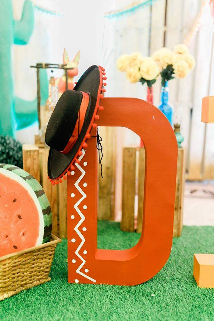 Fiesta letter from a Mexican Fiesta Birthday Party on Kara's Party Ideas | KarasPartyIdeas.com (12)