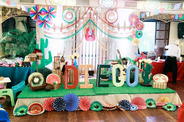 Fiesta stage from a Mexican Fiesta Birthday Party on Kara's Party Ideas | KarasPartyIdeas.com (10)
