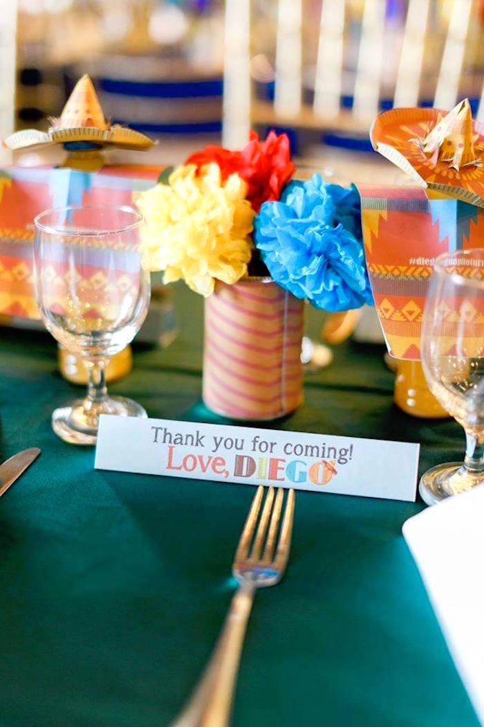 Guest table details from a Mexican Fiesta Birthday Party on Kara's Party Ideas | KarasPartyIdeas.com (4)