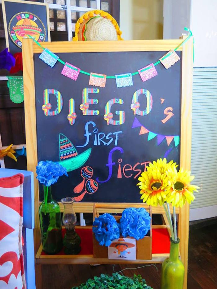 Chalkboard sign from a Mexican Fiesta Birthday Party on Kara's Party Ideas | KarasPartyIdeas.com (27)