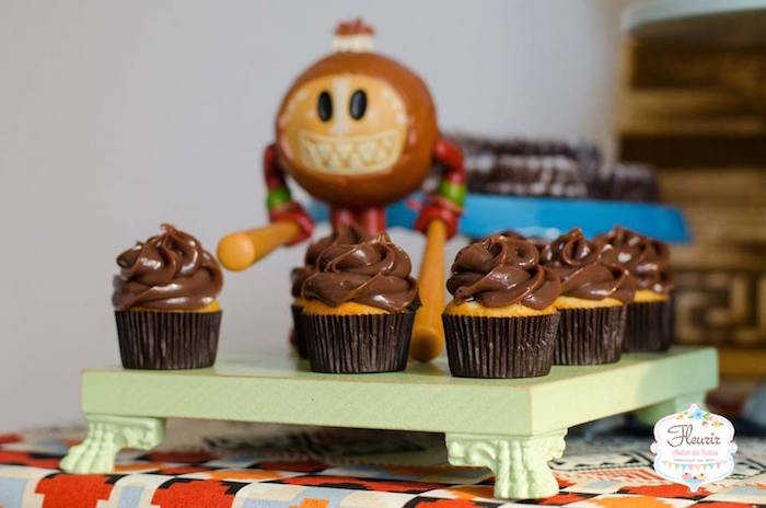 Chocolate frosted cupcakes from Moana's Maui Inspired Birthday Party on Kara's Party Ideas | KarasPartyIdeas.com (9)