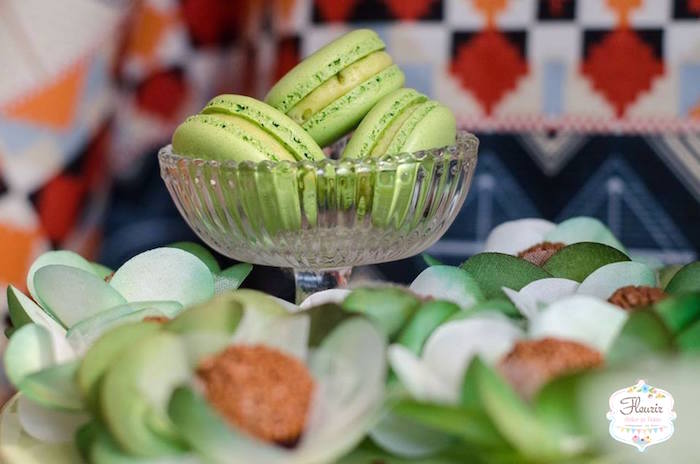 Lime green macarons from Moana's Maui Inspired Birthday Party on Kara's Party Ideas | KarasPartyIdeas.com (15)