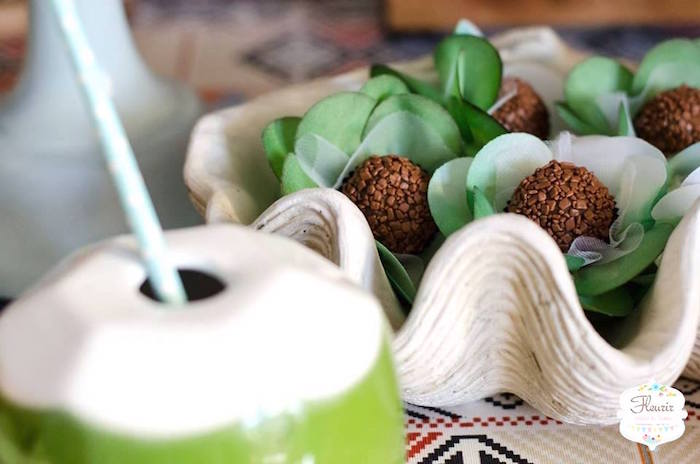 Shell bowl filled with brigadeiros from Moana's Maui Inspired Birthday Party on Kara's Party Ideas | KarasPartyIdeas.com (10)